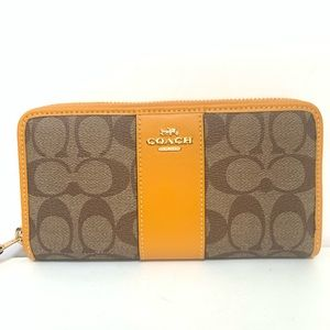 New Coach 54630 Accordion Zip Wallet Coated Canvas